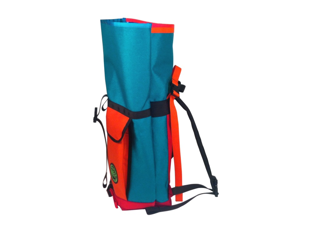 Small Basic Backpack Roll Top Orange Turquoise Front