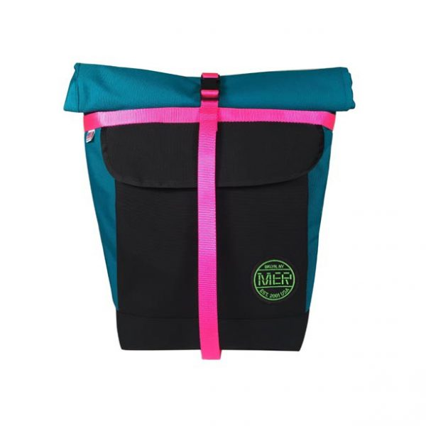 Small Basic Backpack (roll top) Turquoise, Pink, Black