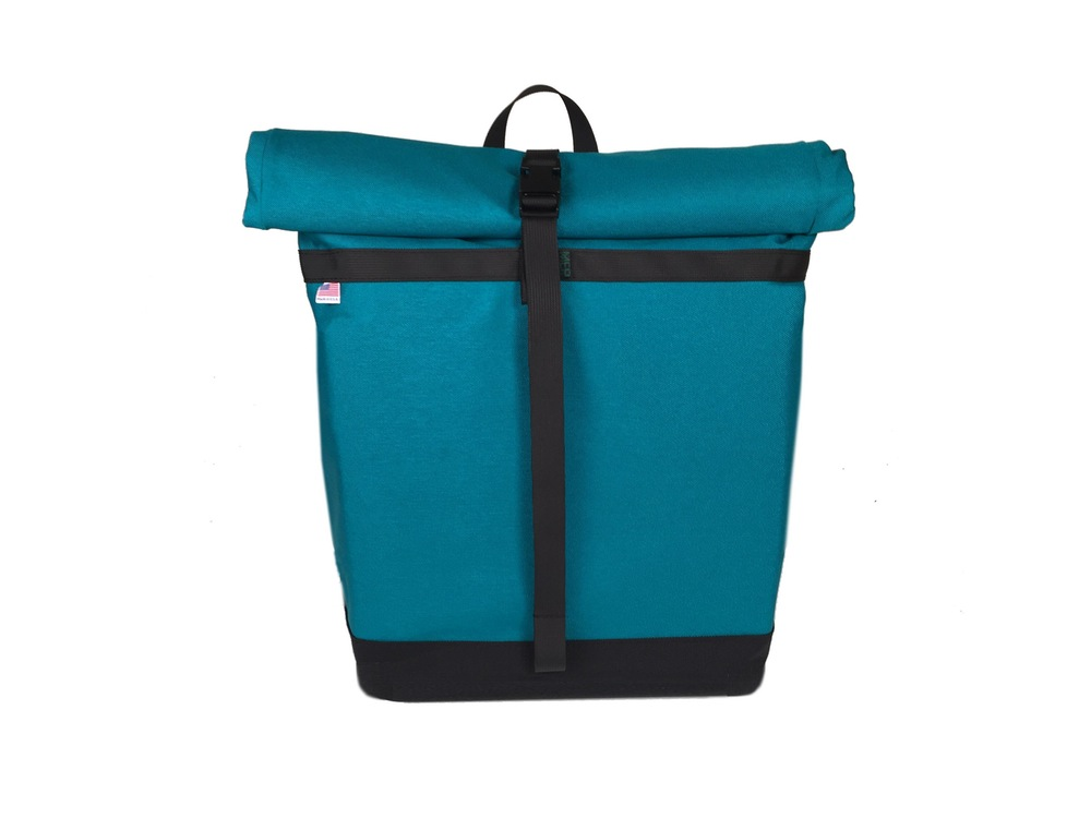 Small Basic Backpack Roll Top Turquoise And Black Mer Bags