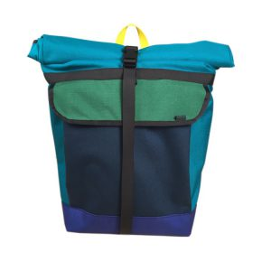 Small Basic Backpack (roll top) Turquoise, Green, Navy, Purple