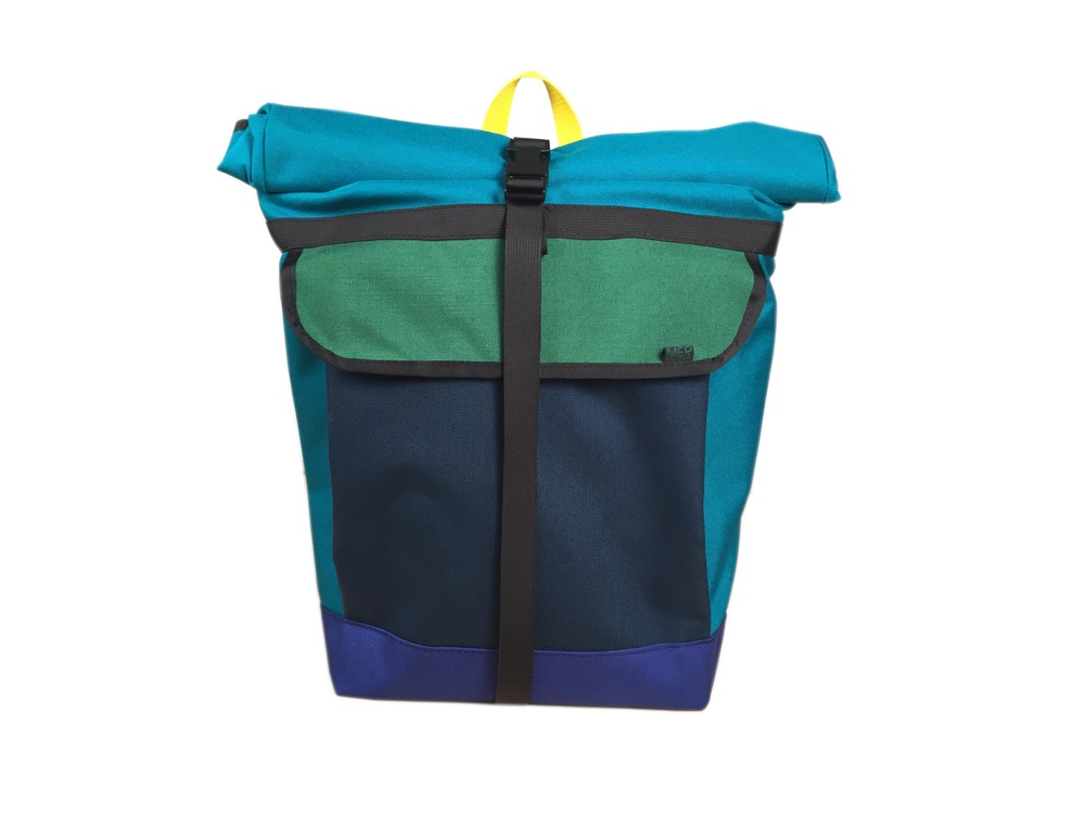 Small Basic Backpack Roll Top Turquoise Green Navy