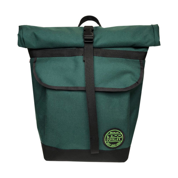 Small Basic Backpack roll top Green, Black